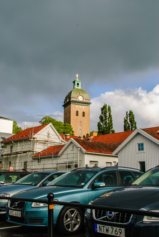 Threathening sky above Carolus church in Borås in the afternoon.